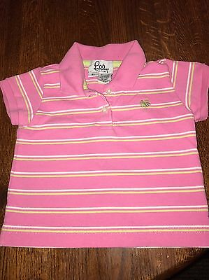 Lilly Pulitzer Toddler Girls Short Sleeve Polo Pink Striped Size 3T - Used