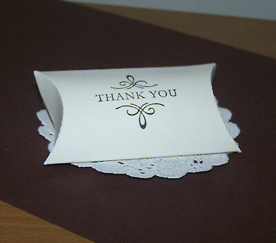 "Hand stamped""Thank you""pillow boxes-Pk150,200 -ivory,Brown,Pink,Lilac,blue,mint"