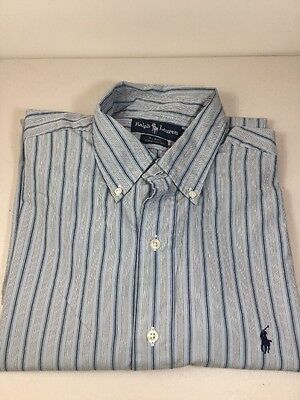 Ralph Lauren Mens Large Blake Blue Striped Button Down Dress Casual Shirt