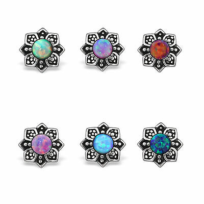 925 Sterling Silver Gorgeous Opal Flower Leaf Stud Earrings Girls Women Gift