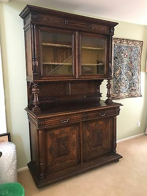 Antique French Henri II Carved Walnut Hutch Cabinet Sideboard Cabinet Buffet