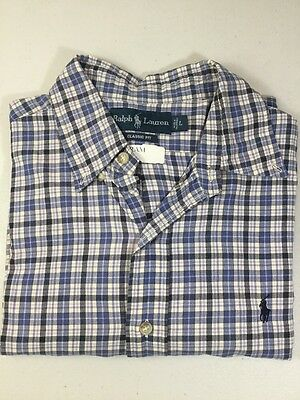 Ralph Lauren Mens L Classic Fit Checkered Blue Button Down Dress Casual Shirt