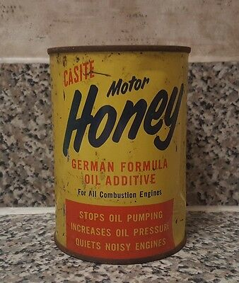 *rare* Vintage Casite Motor Honey Oil Advertising Metal Tin Can Unused Nos