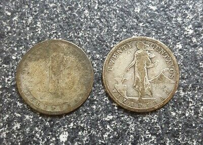 1907 Filipinas/philippines 20 Centavos 2 Coin Lot United States Of America