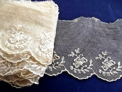 """6.5 Yard 4""""Wide Antique Lace Brussels Embroidered Flowers Leaf Sprigs Cotton Net"""