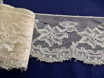 """2 Yards 3"""" Wide Antique Brussels Lace Embroidered Net Off-White Trim Gimp Picots"""