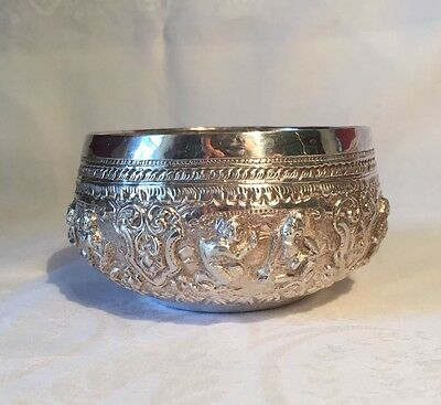 Antique Burmese Repoussee Sterling Silver Bowl