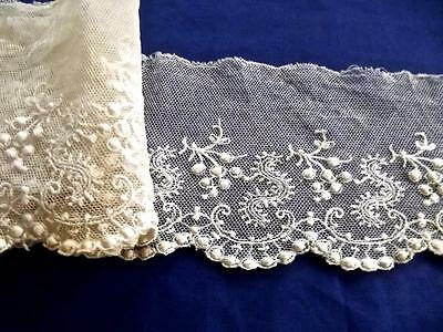 """FAB 2.5 Yards 3"""" Wide Antique Brussels Lace Densly Embroidered Cotton Net Trim"""