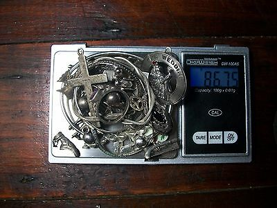 86.75 Grams Sterling Silver .925 Marked LOT Jewelry Necklace, Pendants Antique
