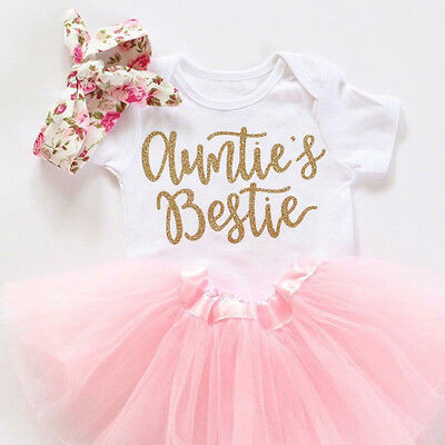 3PCS Newborn Baby Girl Auntie Romper Bloomer Pants Birthday Outfit Clothes Set
