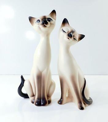 """Pair of Vintage Norcrest SIAMESE CAT FIGURINES A-865 ~ 8"""" Tall"""