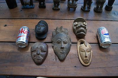 Vintage Lot of 5 - Assorted Styles Tribal Wooden Small Masks - OLD African Art