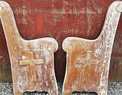 2 Antique Architectural Wood Church Pew Salvage Furniture Bench Chair Table Ends