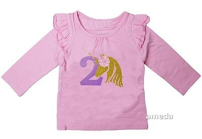 Girls 2nd Birthday Unicorn Light Pink Long Sleeved Wings Tee
