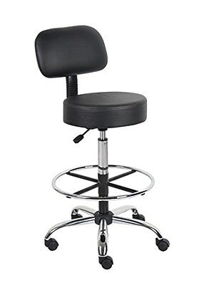 """6"""" Medical Drafting Stool with Back Cushion Adjustable Seat Height Tall Black"""