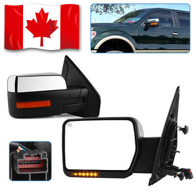 Pair for 07-14 Chevy Sierra Towing Power Heat Chrome Mirrors Signals Backup Lamp