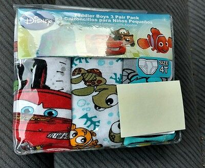 3 Disney CARS FINDIND DORY Toddler 4T Boys Briefs Underwear MONSTERS TOY STORY