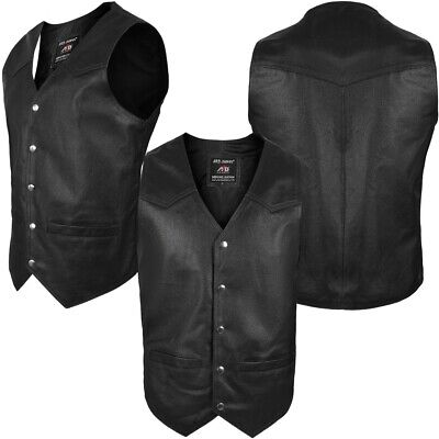 2Fit® Men's Motorcycle Vest Genuine Cowhide Leather Black Style 950