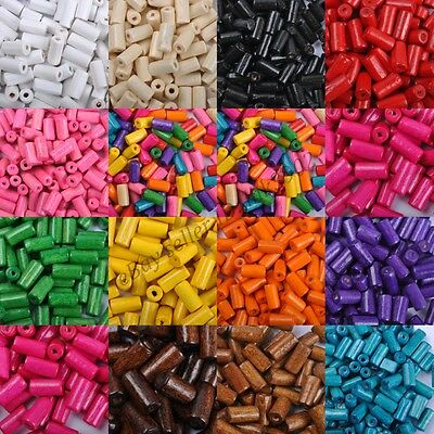 100pcs TUBE SHAPES & Charms WOOD Loose BEADS & Colors To Choose & 12X6MM