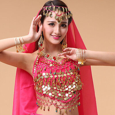 Golden Belly Dance Earrings Indian Dangle Red Gem Gold Coins dancing Costume