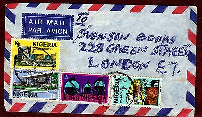 NIGERIA STAMPS- Industry 2k, 8k, 12k and 18k, air cover to UK, 1986