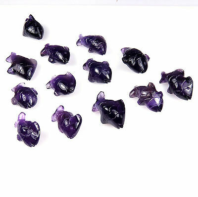 273.6 CTS Natural African Amethyst Carved Purple Fish Carving 20 Pieces Lot