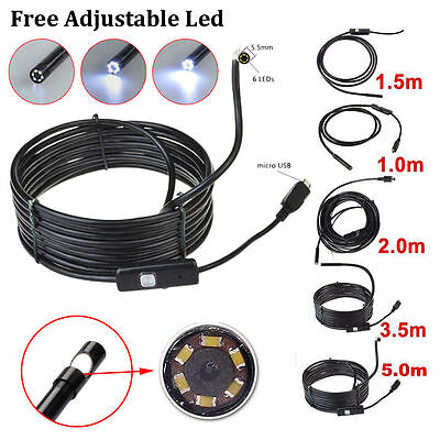 5M 6LED 5.5mm Android Endoscope Waterproof Snake Borescope USB Inspection Camera