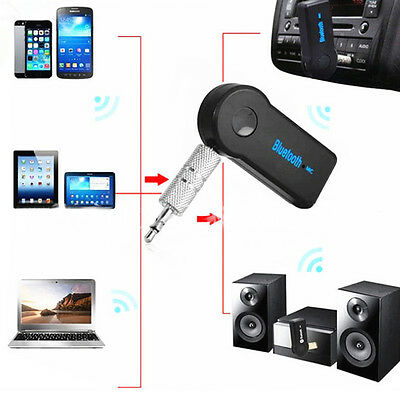 Wireless 3.0 Bluetooth Audio Receiver Stereo Music Car Adapter W/Mic 3.5mm AUX