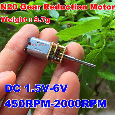 Mini N20 Full Metal Gearbox Gear Reduction Motor DC 1.5V 3V 6V 2000RPM Reducer