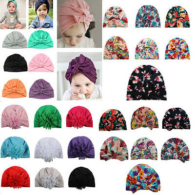 Newborn Baby Infant Girls Toddler Cotton Bowknot Floral Hospital Cap Beanie Hat