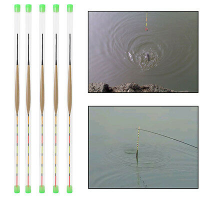5Pcs Tackle Floats Wood Bobber Floating Vertical Buoy Fishing Accessories