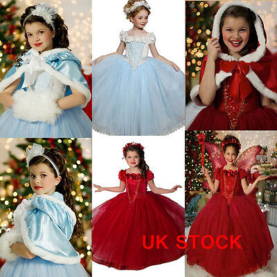 Kids Girls Cinderella Cosplay Outfit Costume Princess Fancy Dress Party Age 3-8Y