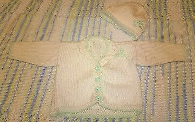 Baby girls cardigan and hat set 0-3 months, hand knitted