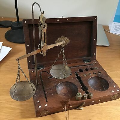 antique doctors scales wooden case indonesia