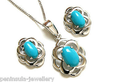9ct White Gold Turquoise Celtic Pendant and Earring Set Made in UK Gift Boxed