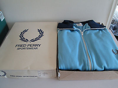 *wow Vintage Fred Perry Tracksuit Unworn Top & Bottoms Light Blue & Navy Xl H343
