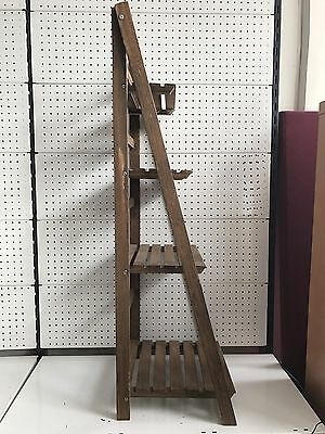 Brown Wooden Ladder Shelf 4tier Stand Storage Shelving Display Rack