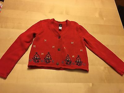 Tea Collection Cardigan Sweater, Red With Floral Embroidery, Size 8-9, Pretty!