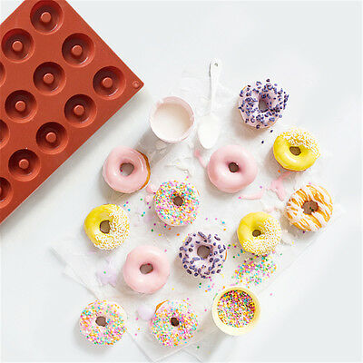 18 Cavity Candy Molds Silicone Donut Mould Round Shaped Baking Pan Kitchen Tool