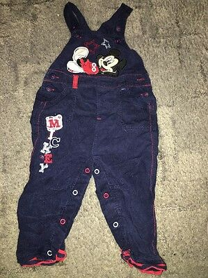 Baby 9-12 Months Boy Unisex Blue Disney Mickey Mouse Dungarees