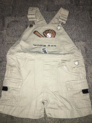 Baby 12-18 Months Boy Unisex Beige White Sox Dungarees