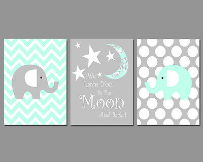 Set of 3 Nursery Wall Art Prints Mint & Grey We Love You To The Moon And Back