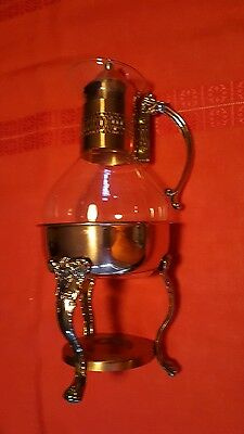Glass and Copper Tea/Coffee Pot with Warmer - Vintage