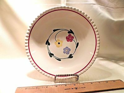 "Vtg Southern Potteries ""daisy Chain"" Ceramic Soup Bowl, Off-White W/3 Flowers"