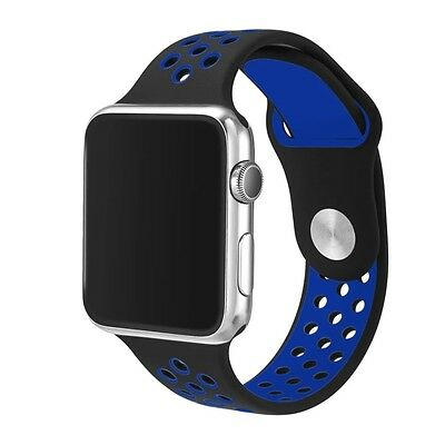 Silicone Rubber Wristband Strap For Apple i-Watch - Size 42mm - Black Blue