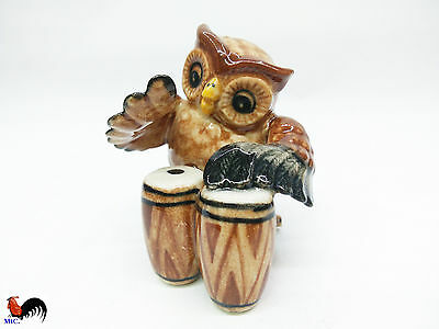 Animal Ceramics OWL Playing Drum Music Figurine Collectible Home Decor Painted