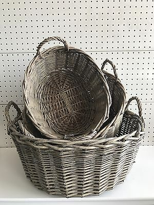 Set3 Grey Thick Rattan Cane Storage Laundry Basket With Handle