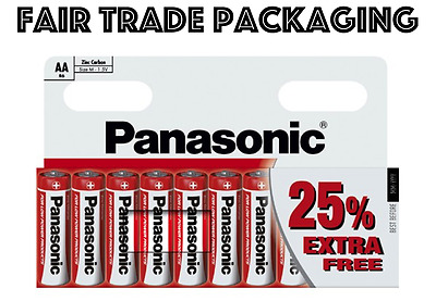 10 x AA Genuine PANASONIC Zinc Carbon Batteries - New R6 1.5V Expiry 2020