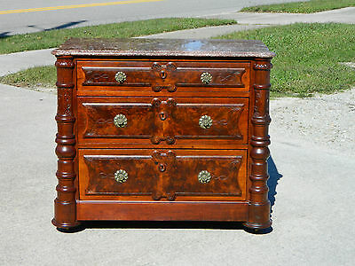 Beautiful 3 Drawer Marble Top Washstand Bachelors Chest circa 1880