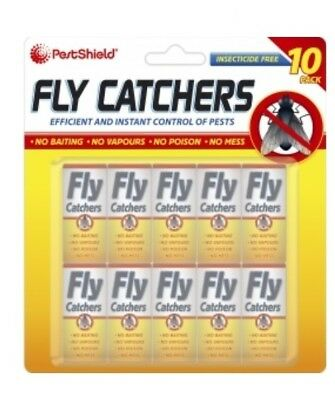 PestShield Pack Of 10 Sticky Fly Papers Fly Wasp Insect Pest Catchers Control
